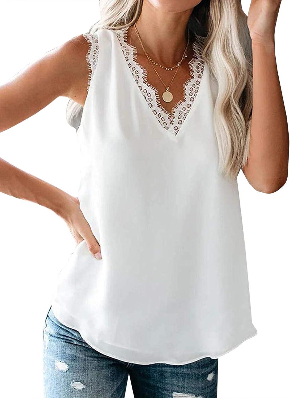TINSTREE Women Casual Tank Top V Neck Lace Trim Cami Blouse Sleeveless Lightweight Shirt Vest