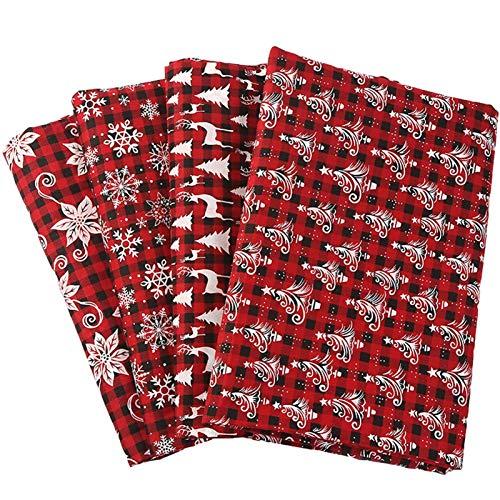 Natale Tessuto Cotone Stoffa, 4 Pezzi Tessuti Tessuto Cotone Stoffa Patchwork 50x50cm / 25x 25cm Cucito Creativo DIY Fatto A Mano