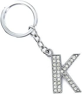 Jzcky Shzrp Alphabet Letter(A-Z) Crystal Rhinestone Keychain Key Chain Sparkling Key Ring Charm Purse Pendant Handbag Bag Decoration Holiday Gift(K)