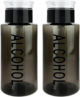 PANA 7 Oz BLACK Alcohol Labeled Liquid Push Down Pump Dispenser Bottle with Flip Top Cap (Quantity: 2 Pieces)