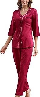 100% Cotton Pajamas Set Women Button Up Graphic PJ Top & Lounge Pants