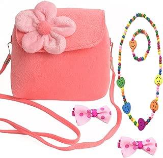 Little Girl Beauty Set Plush Flower Handbag + 2 Hair Clip + Necklace and Bracelet