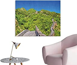Ancient China Mural Decoration Scenery of The Great Wall of China in Mountains Panoramic Photo Landmark Space Poster Blue Green Grey W36 xL24