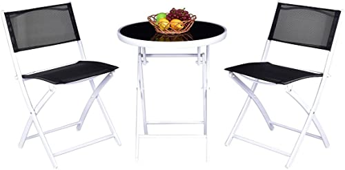 new arrival Giantex Bistro Table 2021 Set, 3 Piece Patio Bistro Set, Outdoor Folding Table and Chairs, Foldable popular Patio Dining Set, Porch Furniture Set Garden Backyard Metal Frame No Assembly, Black online sale