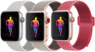 INTENY Sport Band Compatible with Apple Watch 38mm 40mm 42mm 44mm, Soft Lightweight Breathable Nylon Sport Loop, Strap Replacement for iWatch Series 4, Series 3, Series 2, Series 1