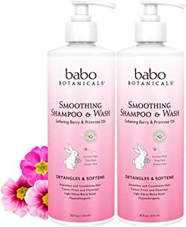 Babo Botanicals Smoothing Shampoo and Wash, Made With Natural & Organic Ingredients, Berry Primrose, 16 Fluid Ounce Pack of 2, 16 Ounchs