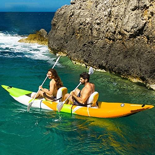 LHYCM Juego Inflable De Kayaks De Travesía para Adultos, Bote De Canoa Inflable Portátil para Kayak Deportivo con Paleta/Asiento Inflable, Bote De Balsa para Deportes Acuáticos,Double
