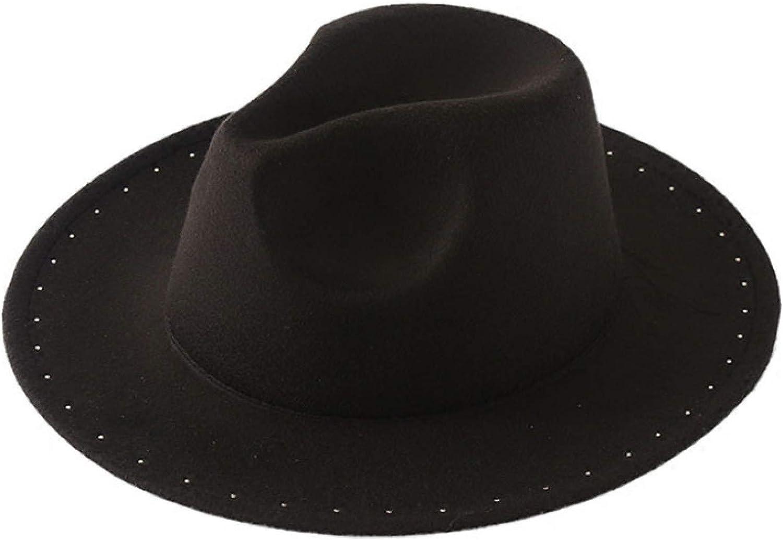 ASO-SLING Women's Elegant Pearl Brim Felt Fedora Hat Gentleman Black Panama Hat Shapeable Wool Jazz Hat for Formal