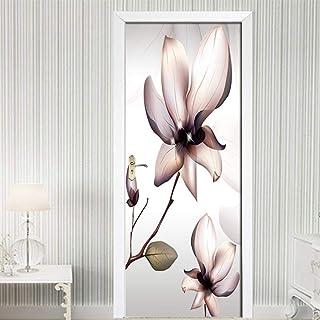 LeiDyWer Sticker Porte Autocollant De Porte 3D Auto-Adhésif Fleur Photo Décoration Papier Chambre PVC Imperméable Mur Auto...