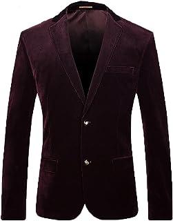 FOLOBE Mens Velvet Suit Jacket Business Blazer Coat