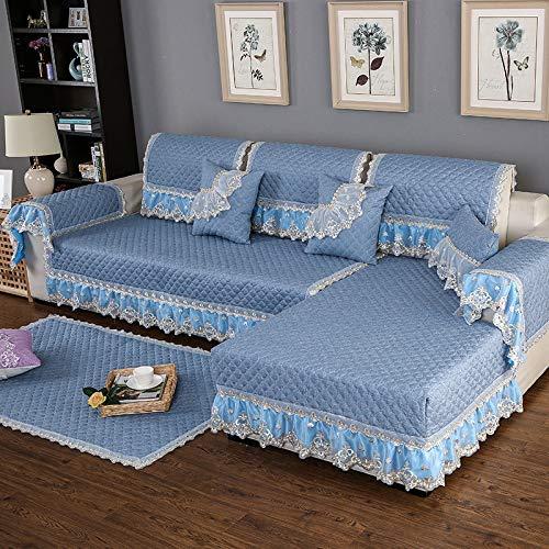 BASA Tuin meubelhoes, linnen bank kussensloop handdoek, eenvoudige stofbescherming meubels (100 + 15 skirt) * 180cm Blauw