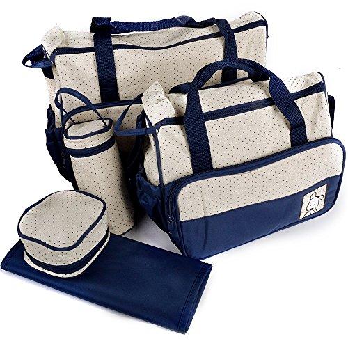 LATH.PIN 5tlg Babytasche Set Pflegetasche Tragetasche Wickeltasche Kinder Baby Windeltasche (Dunkelblau)