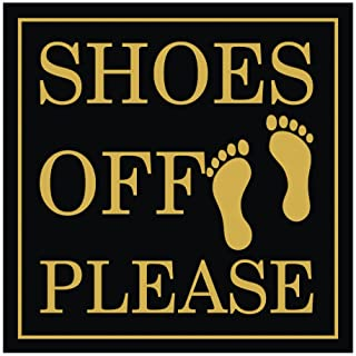 All Quality Shoes Off Please Square Wall Door Sign - Black/Gold (Small)