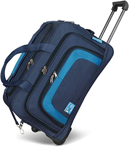 Tribe 55cms Polyester Trolley Duffle Bag Navy Blue
