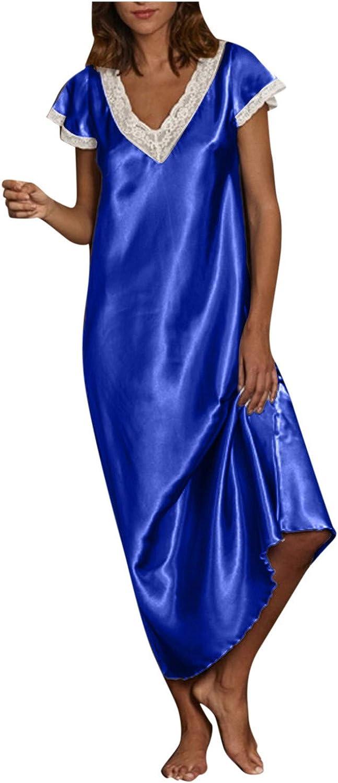 Forwelly Plus Size Nightdress for Women Sexy Satin Short Sleeve Maxi Dress Lingerie Nightwear Loungewear