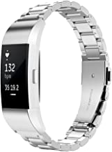 Simpeak Band Compatible with fit bit Charge, Stainless Steel Replacement Band Strap Replacement for Fit bit Charge, Silver