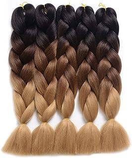 SODIAL 5Pcs Dirty Braids,Gradation Synthetic Braiding Hair,Lot Hair Extension for Twist Braiding Hair