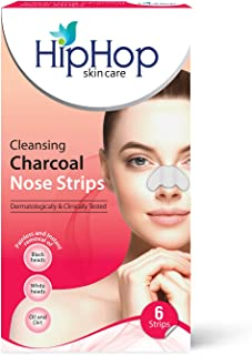 HipHop Skincare Cleansing Charcoal Nose Strips for Women - Blackhead Remover & Pore Cleanser (6 Strips)