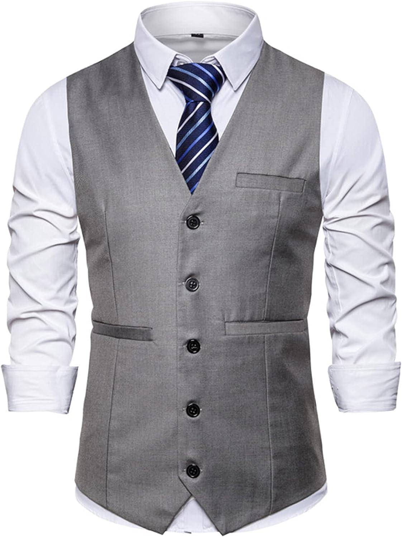 Mens Classic Waistcoats,Slim Fit Waistcoat Formal Suit Vest,Notch Lapel/V-Neck Business Dress Vest