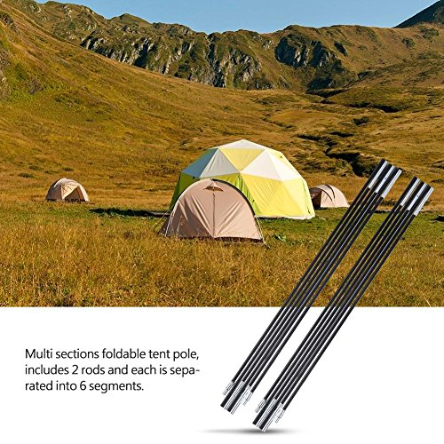 Tent Pole Rod, Outdoor 2 STKS Aluminium Legering Bar Rod Accessoires Bouwen Ondersteunende Luifel Frames Kit voor Wandelen Camping Vervanging Glasvezel Shock Corded Equipment Zwart 3.3m secties