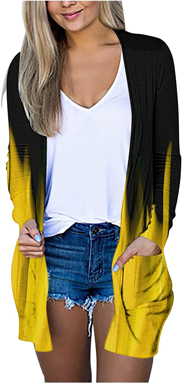 Cardigans for Women Max 76% OFF Solid Omaha Mall Butterflies S Lightweight Printed Plus