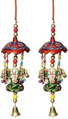Handicrafts Paradise Door Hanging Umbrella with Big Ganesha Painted and Metal Bell Set of 2