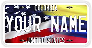 BleuReign(TM Personalized Mixed USA and Colombia Flag Car Vehicle License Plate Auto Tag