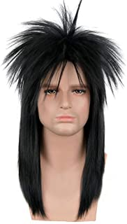 SiYi 70s or 80s Wig Clothes Fashion Halloween Costume Accessory Punk Metal Rocker Mullet Wig for Men Women (3617)