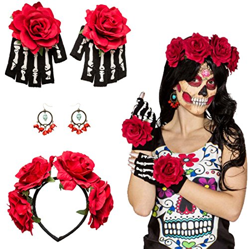Set disfraz La Catrina Accesorio mexicano Banda del pelo, pendientes, guantes Complemento Día de los muertos Bisutería fiesta tradicional mexicana Traje halloween día muertos Moda oscura calavera