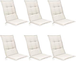 Beautissu Set de 6 Cojines para sillas de Exterior, tumbonas, mecedoras o Asientos con Respaldo Alto Base HL 120x50x6 Placas compactas de gomaespuma - Natural