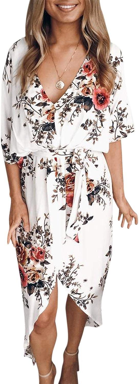 YOINS Summer Dresses for Women Random Floral Print Casual Loose Split Plain Maxi Dresses