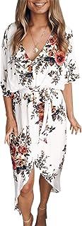 YOINS Sommerkleid Damen Lang V-Ausschnitt Off Shoulder Maxikleider für Damen Kleider Lose Kleid Strandmode