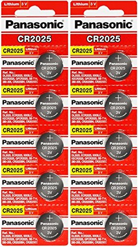 Panasonic CR2025-10 CR2025 3V Lithium Coin Battery (Pack of 10)