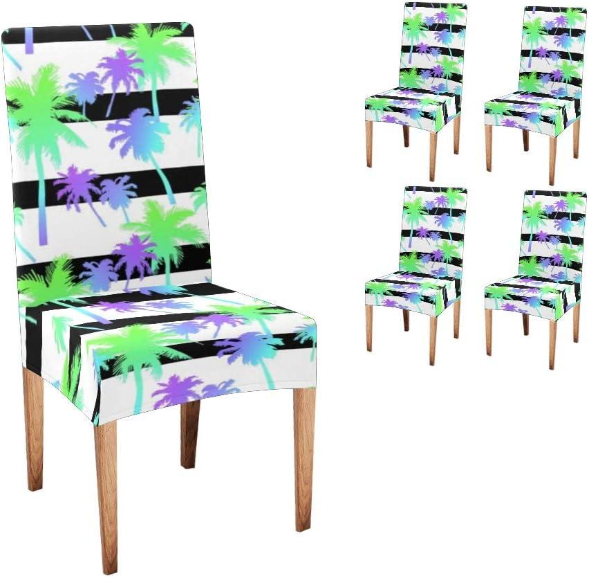 卓抜 CUXWEOT Chair Covers Protector PalmTrees Stripe Comfort Soft 新作からSALEアイテム等お得な商品満載 Sea