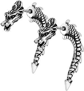 2PCS Ear Stud Fake Ear Gauges Burning Silver 3D Dragon Unique Style Fake Ear Tunnel Plugs Earrings 18G Ear Gauges