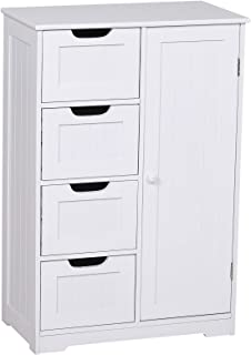 kleankin Armario Madera para Baño o Entrada Mueble Organizador Moderno de Madera 1 Puertas y 4 Cajones Color Blanco 56x30x...