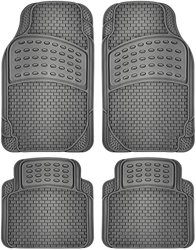 OxGord Brick-Style All-Weather Rubber Floor-Mats - Waterproof Protector for Spills, Dog, Pets, Car, SUV, Minivan, Truck - 4-Piece Set, Gray