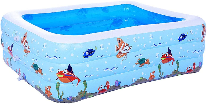 HEROTIGH Aufblasbare Pools Planschbecken Kinder Rechteckig Baby Aufblasbar Dick Gro Wasserballbecken DREI Ringe 26 Meter Schwimmbecken