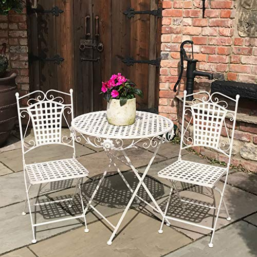 GlamHaus Garden Bistro Set Metal Foldable Patio 3 Piece Garden Balcony Furniture Folding Table and Two Chairs Antique Cream Beautiful Handmade Vintage Outdoor Dining Set Seville