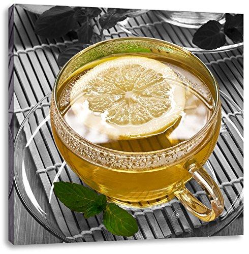 Groene thee met citroenCanvas Foto Plein   Maat: 40x40 cm   Wanddecoraties   Kunstdruk   Volledig gemonteerd