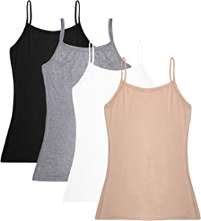Women's Basic Solid Adjustable Spaghetti Strap Tank Top 2-4 Pack Cotton Camisole Cami Tank Tops