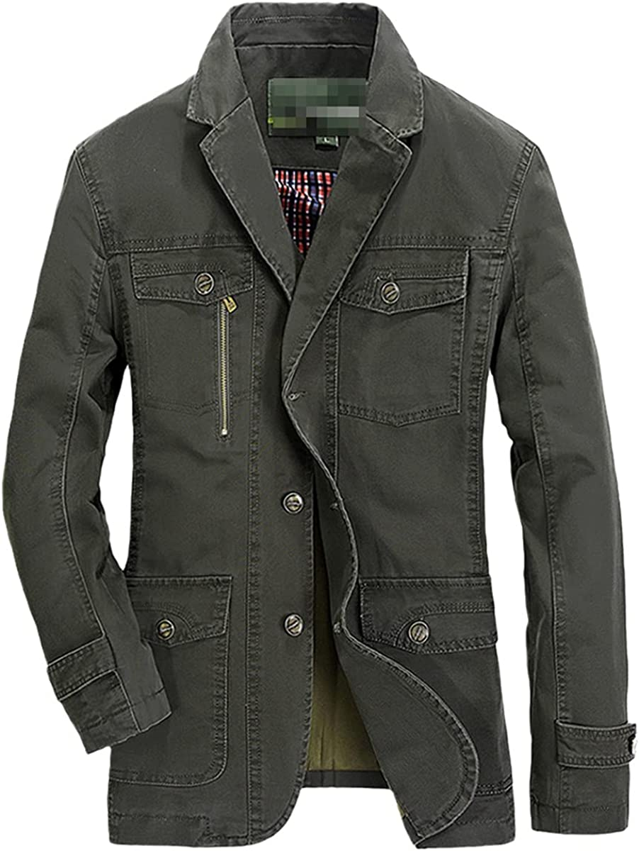 DFLYHLH Casual Denim Jacket Men's Cotton Business Jacket Men's Fashion Autumn and Winter Suits