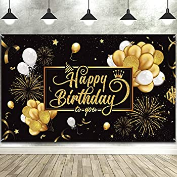 Happy Birthday Backdrop Banner Large Black Gold Balloon Star Fireworks Party Sign Poster Photo Booth Backdrop for Men Women 30th 40th 50th 60th 70th 80th Birthday Party Decorations 72.8 x 43.3 Inch