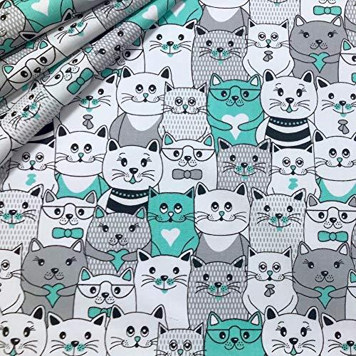 Erstklassiger Baumwollstoff 0,5lfm, 100% Baumwolle, modische Muster, Breite 160cm – Katzen im Kino - Mint