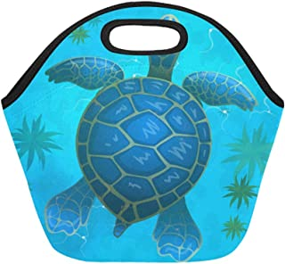 Insulated Neoprene Lunch Bag Cartoon Vector Blue Sea Turtle Under Water Large Size Reusable Thermal Thick Lunch Tote Bags For Lunch Boxes For Outdoors,work, Office, School