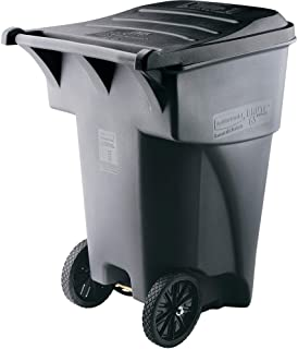 Rubbermaid Commercial Products FG9W2100GRAY BRUTE Rollout Heavy-Duty Wheeled Trash/Garbage Can, 65-Gallon, Gray