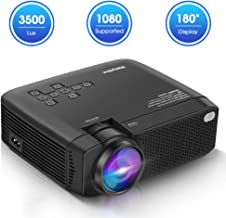 ManyBox Mini Projector, 3500 LUX Portable Video Projector with 45000 Hrs LED Lamp Life, Full HD 1080P Supported, Compatible with TV PS4, HDMI, VGA, TF, AV and USB