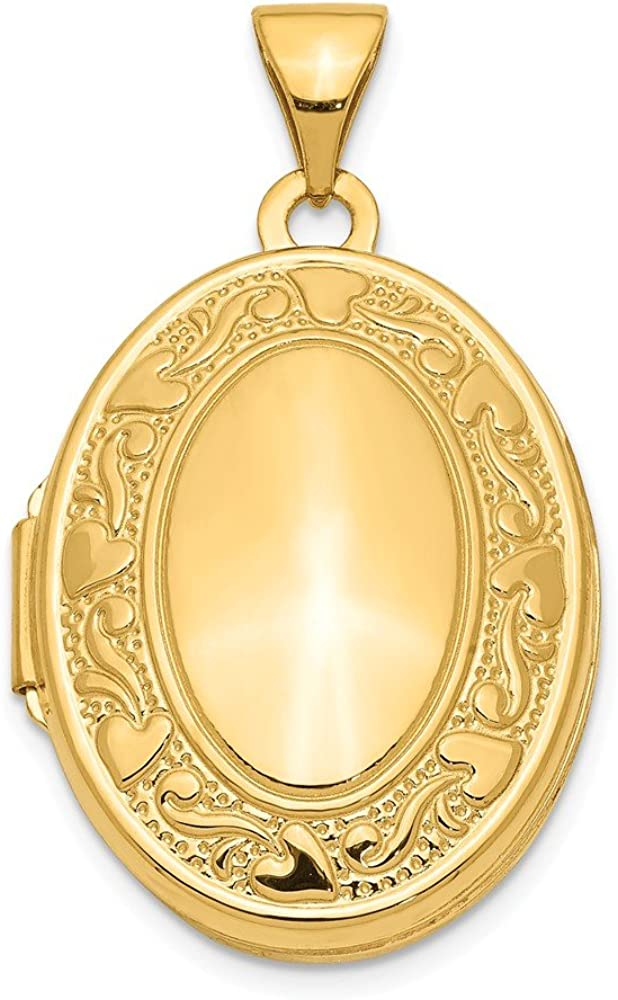 14k Yellow Gold Scroll Heart Design Oval Photo Pendant Charm Locket Chain Necklace That Holds Pictures Fine Jewelry For Women Gifts For Her