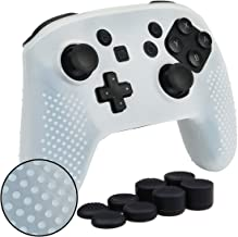 MXRC Silicone rubber STUDDED cover skin case anti-slip Customize for Nintendo Switch PRO controller x 1(clear white) + thumb grips x 8