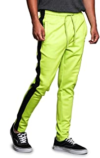Victorious Mens Dual Side Stripe Star Foil Ankle Zip Slim Fit Stretch Drawstring Trackpants